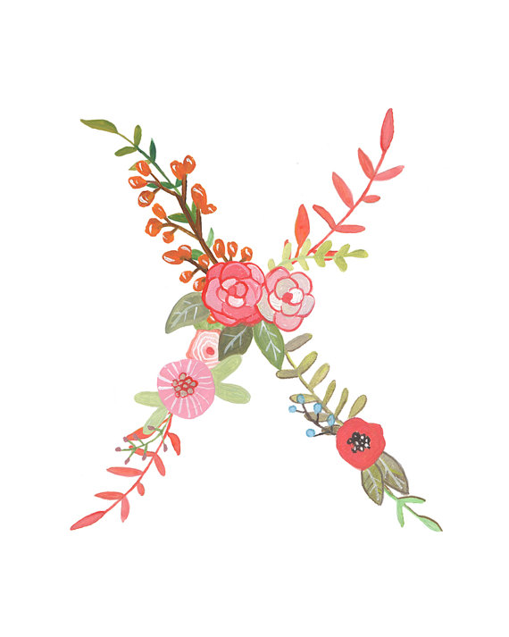 Floral Letter Illustration Typography Print by Makewells