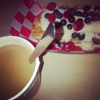 Red white and blue gluten free waffles from Bedrock Market & Café Memphis TN S.Main