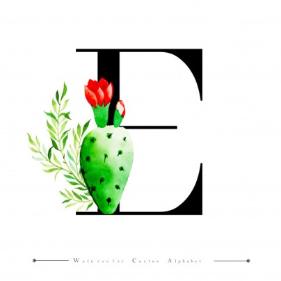 alphabet-letter-e-with-watercolor-cactus_1340-9185