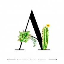 alphabet-letter-watercolor-cactus-leaves-background_1340-9181